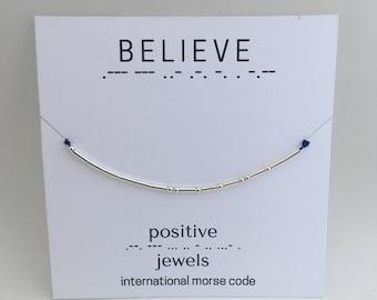 Believe Morse Code Bracelet, Friendship bracelet, personalized-Sterling Silver