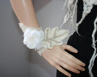 Beautiful Pixie Fairy Dreamy Felt Wrist Warmers. Snow Queen. Gorgeous Flower And Leaf Detail.Woodland Nymph.OOAK Wearable Art.Ready to send.