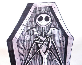 JACK SKELLINGTON tombstone NIGHTMARE Before Christmas Disney Concept Art 36 x 13