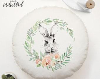 Personalised Enchanted Bunny Floral Wreath cushion, round cushion, nursery cushion, woodland, baby gift, baby shower, keepsake.