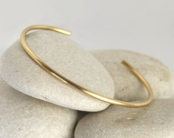 Matte Gold Cuff Bracelet, Brushed Gold Stacking Bangle, Layering Bracelets