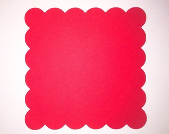 """Scalloped Edge Square Die Cut Cards/ Banner Squares- ANY COLOR- Pack of 12- 3.5"""" , 4"""" , OR 5"""""""