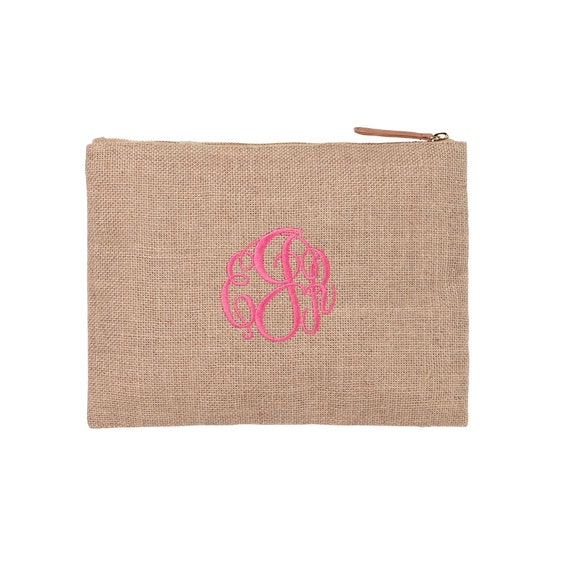 Personalized Burlap Pouch, Makeup Bag, Monogrammed  Bags. Embroidery Bags, Bridesmaid Gift, Shower Gift, Wedding, Bridal Party