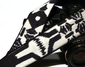 Aztec Camera Strap. DSLR Camera Strap. Black and White Camera Strap. Camera Accessories. Christmas Gifts