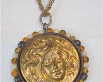 Sleeping Beauty Cameo Art Nouveau Style Pendant Necklace