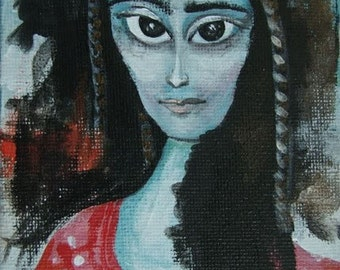 "Original Acrylic Painting ""Maybe Lisa Mona"""