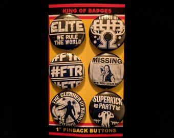 "L007 NJPW 1"" Pinback Button Pin Set of 6 The Elite Kenny Omega Young Bucks New Japan Pro Wrestling Bullet Club FTR roh pwg Hangman Adam Page"