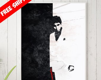 Scarface Poster, Scarface Wall Art, Scarface Art, Scarface Painting, Al Pacino Movie, Minimalist Movie Poster, Fan Art, Scarface Decor