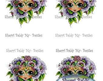 INSTANT DOWMLOAD Digital Digi Stamps Big Eye Big Head Dolls Digi 3D Deco 1 JT  Bestie Color Printable  By Sherri Baldy