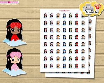 Chibi Nap Sleep in Printable Planner stickers set for  use with your happy planner, Filofax, Recollection, Etc. Kawaii Stickers