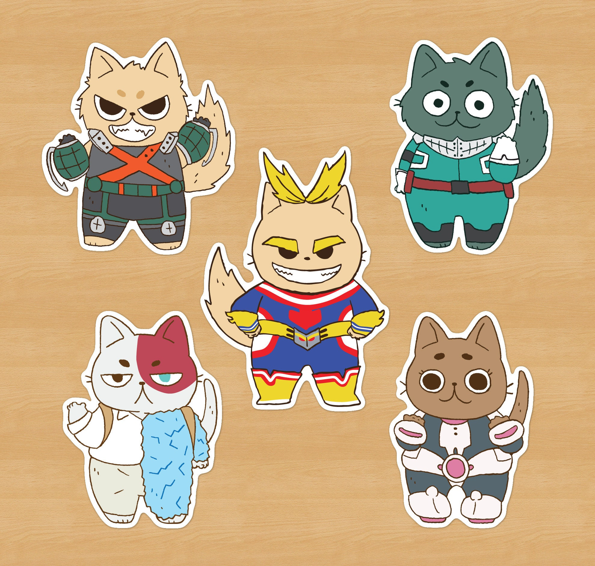 My Hero Academia Cat Stickers // All Might Deku Midoriya