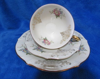 Schumann Bavaria Vintage Collector Porcelain gold plated teacup, saucer and cake plate set