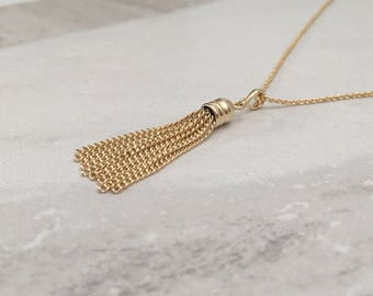 Golden Tassel Charm Necklace, Gold Chain Tassel Pendant Necklace , Gold Finish, SKU: NP122