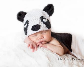 Instant Download Crochet Pattern - Panda Hat and Cape Set - Newborn Prop - Animal Character