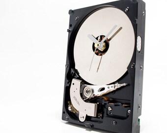 Hard Drive Clock, Small Computer Clock, Industrial Desk Clock, Modern Unique Clock, Boyfriend Husband Gift, Unique Geek Gift, Desktop Clock