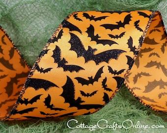 "Halloween Wired Ribbon,  2 1/2""  wide, Black Glittered Bats on Orange - THREE & 2/3 YARDS  -  #60404 ""Bat Skies"" Wire Edged Ribbon"