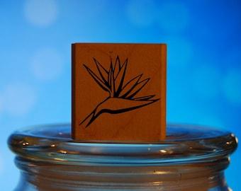 Bird of Paradise Rubber Stamp Mounted Wood Block Art Stamp