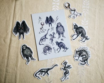 Classic Cryptids print and sticker set