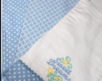 Three Handmade Blue Baby Burp Cloths
