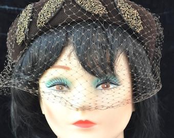 Vintage Womens 60's Pillbox Hat Daywear Felted wool Cocoa Walnut Brown Bugle Bead Trim Costume Theater Foleys As Is Stewardess daywear