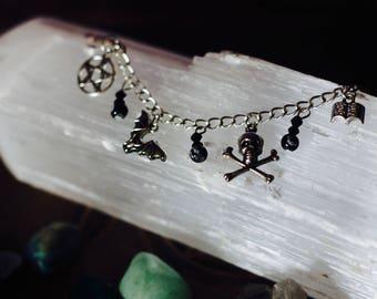 GOTHIC black charm bracelet
