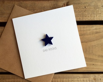 DAD ROCKS Card with detachable magnetic keepsake