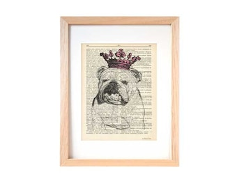 English bulldog Princess dictionary print-english bulldog print-bulldog book art-dictionary print-home decor-dog print-by NATURA PICTA-DP097