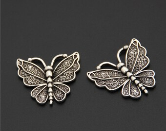20pcs Antique Silver Butterfly Charms Pendant A2502