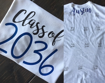 First day of school shirt Class of 2030, 2031, 2032 or any year grow with me. Graduation Shirt. Last day of school shirt. Kindergarten shirt