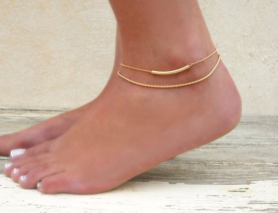 il tiny diamond solid item gold anklet listing real this like