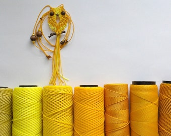 Shades of Yellow Macrame Owl Necklace