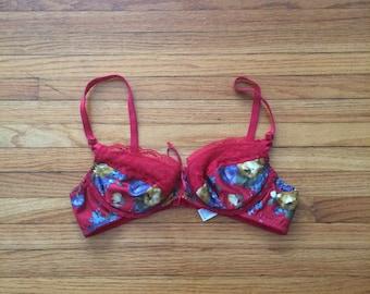 Vintage Maidenform Red Floral Pattern Bra