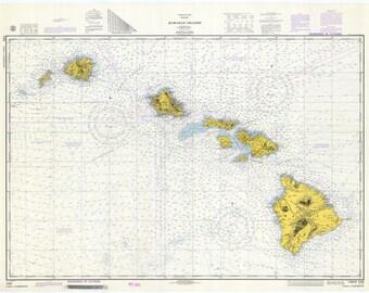 Hawaiian Islands Map - 1974