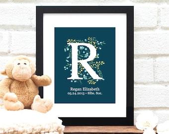 Custom Baby Name Monogram - New Baby Present - Bridal Shower Gift - Nursery Art - Gift Under 30 - Floral Nursery - Baby Shower - Baby Gift