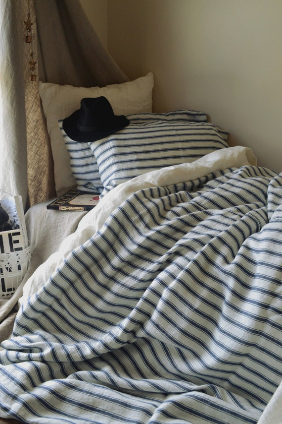Vintage classic french vintage inspired navy ticking linen vintage classic french vintage inspired navy ticking linen bedding stonewashed natural heavy linen quilt duvet cover pre order only publicscrutiny Images
