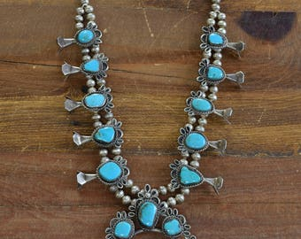 Navajo Style Sterling Silver and Turquoise Squash Blossom Necklace