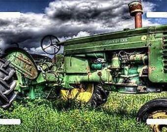 Tractor John Deere Field Farm Farming license plate car truck tag