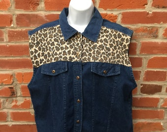 Vintage 80s 90s Denim Animal Print Vest Womens