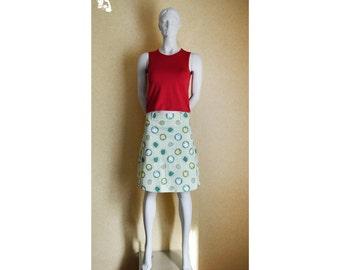 Cute green apple vintage skirt, girl's skirt, vintage skirt, green skirt, woman's bell skirt, retro skirt, fun apples skirt, apples 113