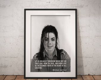 Micheal Jackson, Quote poster, Typographic print, Inpirational Genius Quote, Sizes A4-A0