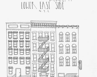 Hand Drawn Lower East Side Illustration