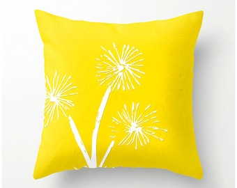 Freesia Dandelion Decorative Throw Pillow - bright yellow cushion, pillow cover, cushion cover, dandelion decor, dandelion accent pillow