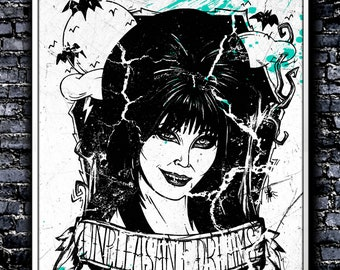 Monochrome Unpleasant Dreams - A4 Signed Art Print (Inspired by Elvira)