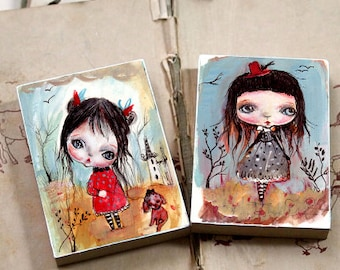 Two pieces set..Miniature woodblock...from my original artwork