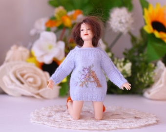 Heidi Ott lady doll Hand knitted blue sweater with embroidery letter  Women doll 1:12 scale dollhouse lady doll Miniature dollhouse sweater