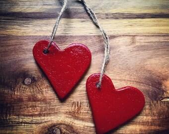 Salt Dough Ornaments / Set of 2 / Red Heart Ornament / Ornaments Set / Valentine Heart / Heart Ornament
