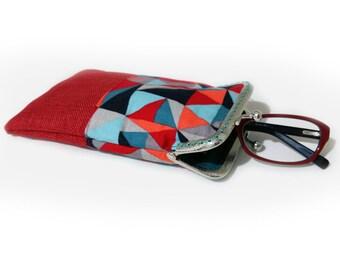 Sunglasses Case, Gift for Her, Eyeglasses Case, Single Glasses Case, Red Glasses Case, Kiss Lock Silver Metal Frame