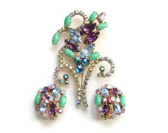 Vintage 1960s Rhinestone Brooch Earrings Demi Parure Set Green Peking Art Glass Amethyst Blue