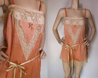 20s Chemise / Vintage 1920s Slip / Peach & Cream Teddy / Antique LACE / 20s Silk Slip / Satin Ribbon / Envelope Chemise / 1920s Lingerie