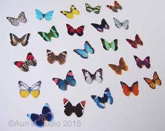 25 Small Paper Butterflies, Realistic 1 inch Paper Butterflies